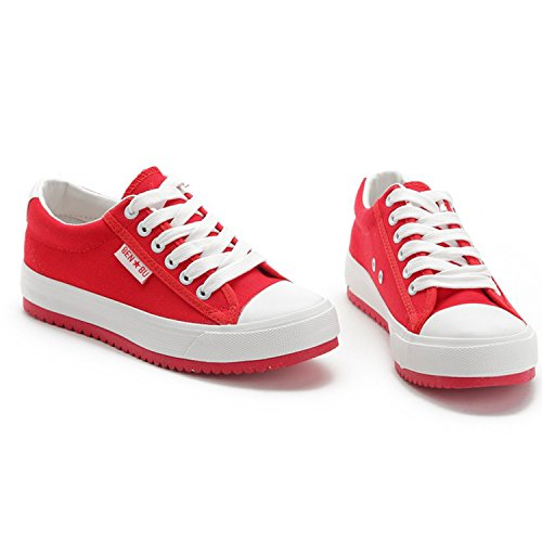 Azbro Women's Casual Low Top Flat Platform Sneakers Red
