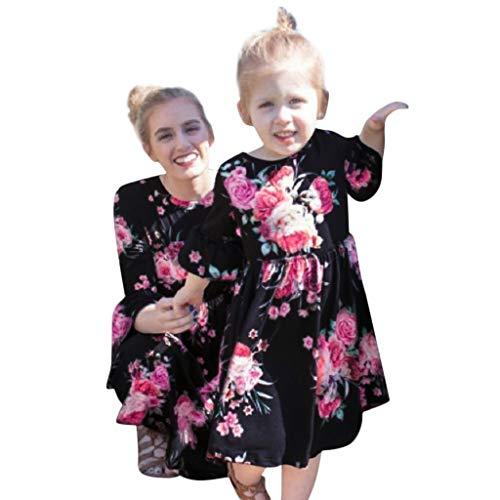 MCYs Mutter und Tochter Kinder Mädchen Lange Ärmel Blumendruck Kleid Familienkleidung Minikleid Beiläufige Partykleid (L, Mama Navy) (Einzigartige Mädchen Für Kleidung)