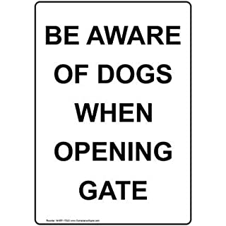 Be Aware Of Dogs When Opening Gate Sign With English Text, White Sticker Lable Warning Stickers Vinyl 10 X 7 In