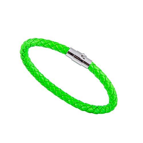 GYU Gewebtes Armband Paar Armband Magnetverschluss MännerFrauen Geflochtenes Leder Stahl Leder Lederseil Unisex, Neongrün