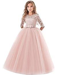 feiXIANG Vestido de Las niñas niñas de los niños de Cinco Puntos de Encaje Bordado Arco
