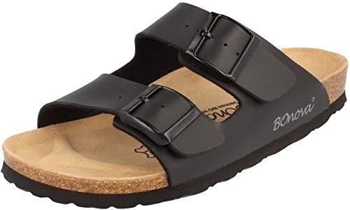 BOnova Herren Pantolette Schwanberg in 4 Farben, Bequeme Hausschuhe mit Kork-Fußbett und Riemen aus Leder - Sandalen hergestellt in der EU schwarz 42