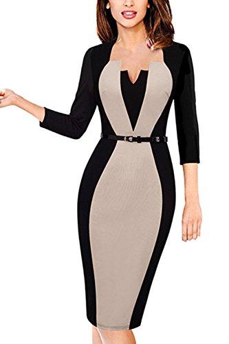MisShow Damen 50s Vintage Rockabilly Kleid Knielang Pencil Bleistiftkleid Bodycon Etuikleid 3/4 Arm...