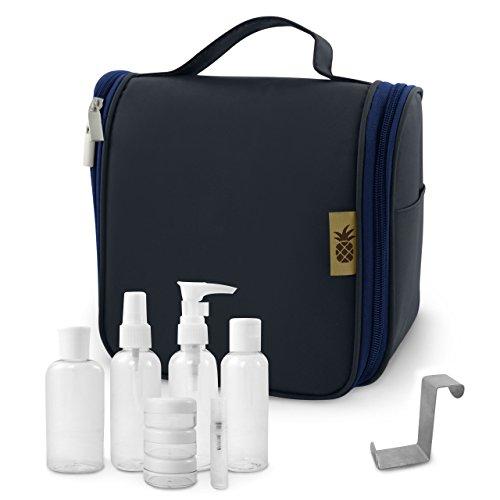 Neceser / Bolsa de Aseo para Colgar para Productos Cosméticos y Maquillaje para Hombre y Mujer / + 1L Neceser Transparente de Viaje (8 botellas de viaje) + Gancho para Puerta