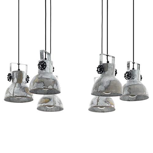 EGLO Pendellampe Barnstaple, 6 flammige Vintage Pendelleuchte im Industrial Design, Retro Hängelampe aus Stahl im Zink Used-Look, Holz, Farbe: braun-Patina, schwarz, Fassung: E27