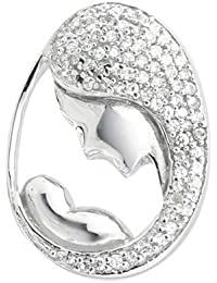 Bling Jewelry Plata Esterlina CZ colgante para Allanar madre-hijo