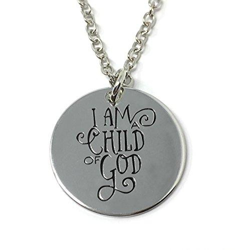 Cadoline Silberton 'Ich Bin Ich Ein Kind Von Gott' Auf Englisch Halskette 2.2cm Mit 45cm Kette Jesus Christentum Glauben