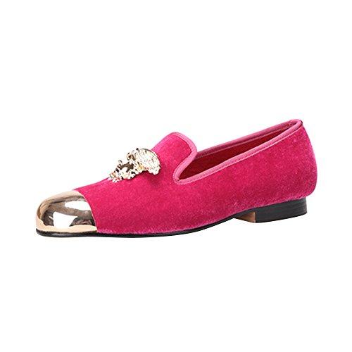 Herren Samt-Kleidschuh handgemacht Flach Loafers Ohne Verschluss Freizeitschuhe Pink