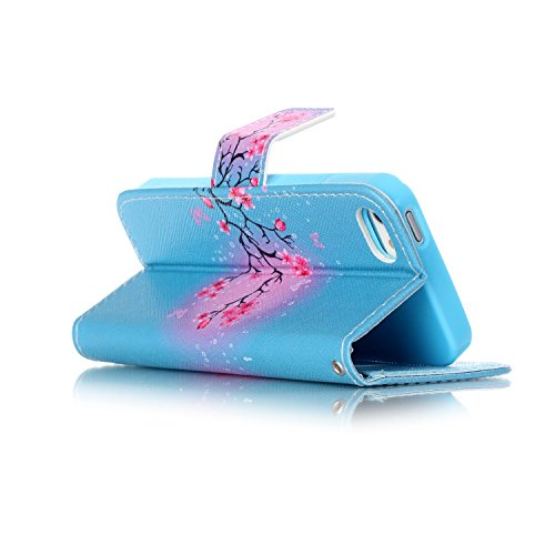 Etsue Lanyard/Strap für Apple iPhone SE/iPhone 5S Blau Elefant Lederhülle Leder Tasche Case Hülle im Bookstyle Muster, Bunte Retro Painted Leder Brieftasche Wallet Cover Flip Case Silikon Schutzhülle  Rosa Blumen Schmetterling