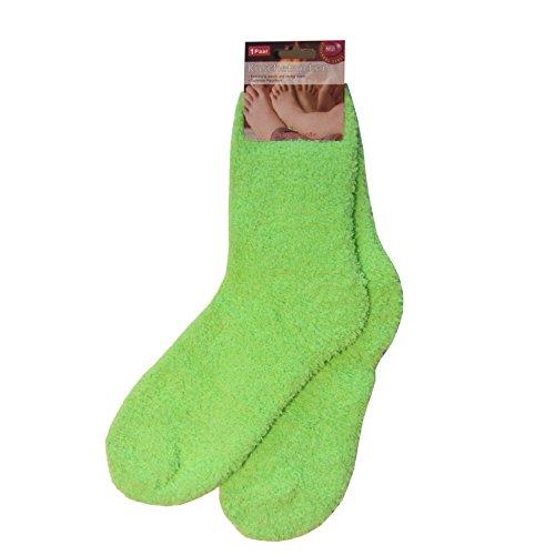 3 Paar flauschige Kuschelsocken für Damen, Teenager und Kinder, in Neon-Farben, einfarbig, uni, neon-grün - Flauschsocken, warme Socken, Schlafsocken, Wintersocken