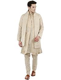 Kurta Pajama For Men 4 Piece Set Sherwani Long Sleeve Wedding Party Wear Diwali Dress