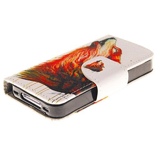 HB-Int 4in1 Zubehör PU Ledertasche für iPhone 4 / 4s Standfunktion Hülle High Heel Kartenfächer Magnetverschluss Schutzhülle Flip Wallet Book Style Case Klapp Rundum Brieftasche Protective Etui Elegan Wolf