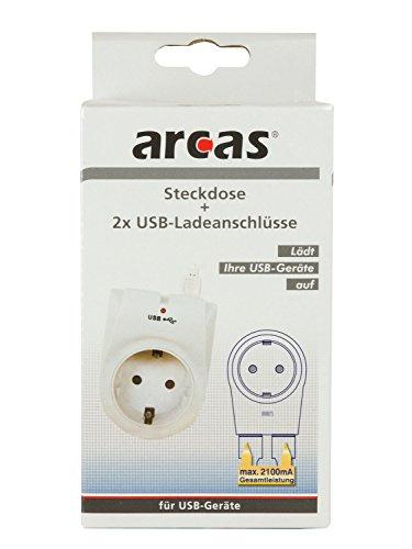 Arcas 94710006 Zwischenstecker 2 USB Ladeanschlüssen, 2100 Watt, Kinderschutz weiß