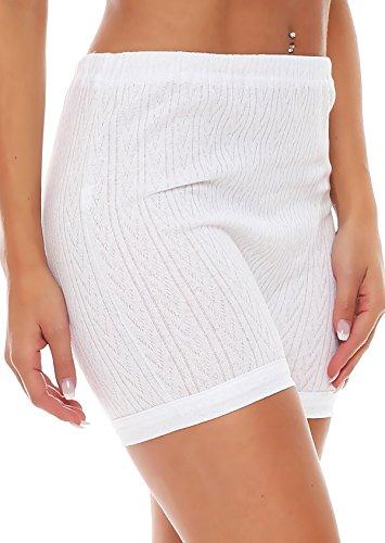 3er Pack Damen Slip mit Bein oder ohne Bein, weiß oder mit Blumen Muster (Schlüpfer, Unterhose) 438-444 (40/42, 442) - 2