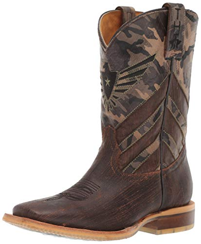 """Tin Haul Western Boots Boys Leather 8"""" Brown 14-018-0007-0711 BR"""