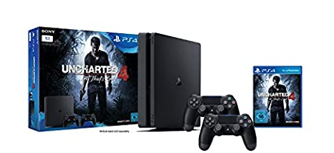 PlayStation 4 - Konsole (1TB, schwarz,slim) inkl. Uncharted 4 + 2 DualShock 4 Controller (Playstation Kosten)