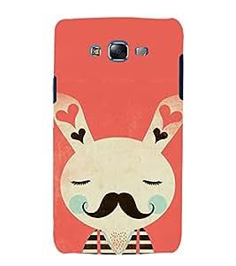 printtech Cute Moustache Bunny Back Case Cover for Samsung Galaxy E7 / Samsung Galaxy E7 E700F