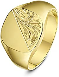 Theia Cushion Shape Engraved Design 9 ct Yellow Gold Signet Ring