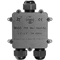 Caja de Conexiones, Cable conector grandes de 3 Vías caja de derivación conector de iluminación para exteriores IP68 impermeable – negro eléctrico externo acoplador, conector de cable puede, cable Gland 4mm-14mm diámetro del cable (1PC)