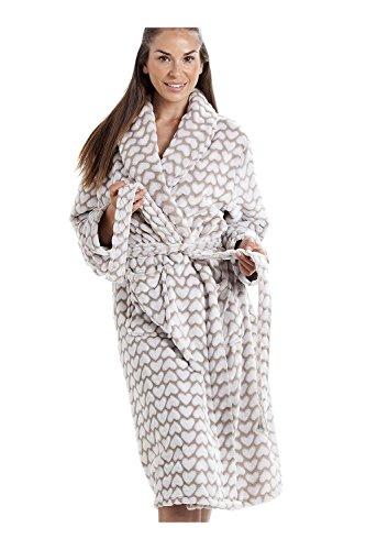 ed4eea06a37cd3 Camille Frauen Farbe Weichen Fleece Bademan 46/48 Luxury Mink Heart