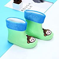 LYXFZW,Rain Boots For Kids,girls,Rubber Wellington Boots Water Shoes Waterproof Non-Slip Boy Children Toddler Green Monkey Cute Easy To Wipe Removable For Outdoor School Garden All Seasons