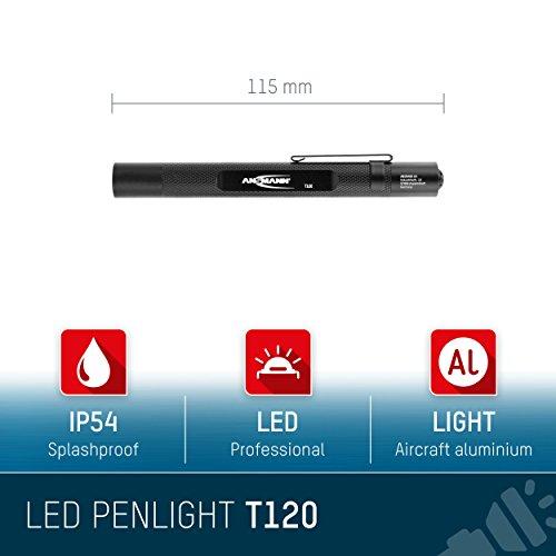 ANSMANN FUTURE T120 Professionelle Auto Stiftleuchte in schwarz / Handliche Outdoor LED Taschenlampe mit hocheffizientem Reflektorsystem / 130 Lumen & Spritzwassergeschützt IP54