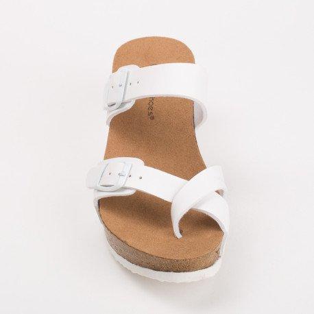 Ideal Shoes - Mules compensées nacrées Tahena Blanc