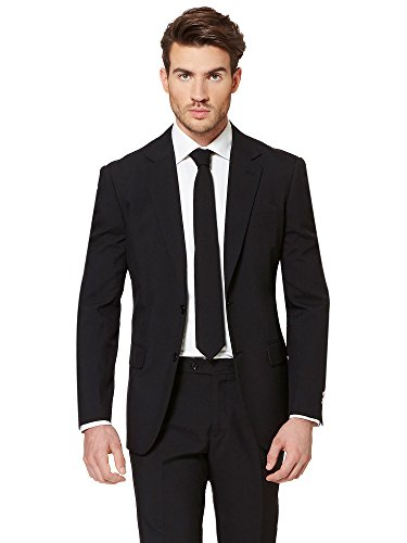 ht Solid Black Suit For Men Coming With Pants, Jacket and Tie - 100% Money Back Guarantee (Full Suit Kostüme)