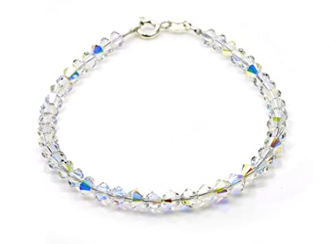Bracelet Sterling Silver with Small Crystal AB SWAROVSKI ELEMENTS Crystals