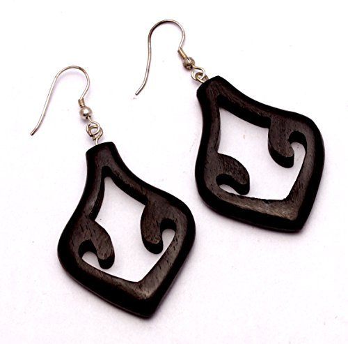 A Pair Of Black Earrings Coco Wood Wooden Boho Hippie Danglers Earrings Aisew 1046