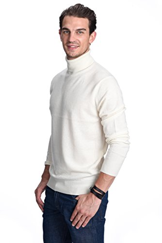 STATE CASHMERE Pullover aus 100% reinem Kaschmir mit Rollkragen für Herren Weiß