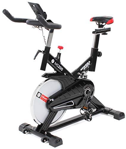 Miweba Sports Indoor Cycling MS200 Fitnessbike - 13 Kg Schwungmasse - Stufenfreie Widerstandsverstellung - Stoßdämpfer - Tablethalter (Schwarz)