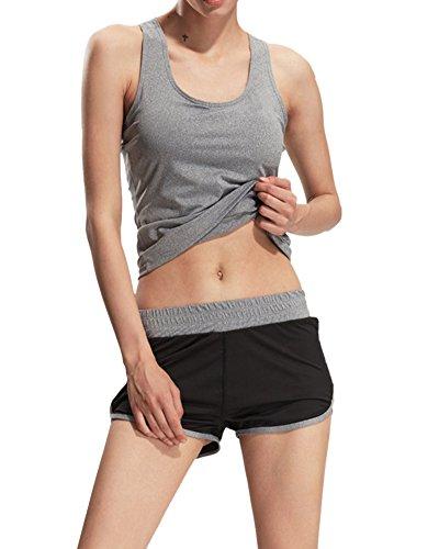 Débardeur de Compression Sans Manches T-Shirt Tanktop de Sport Femme Gris