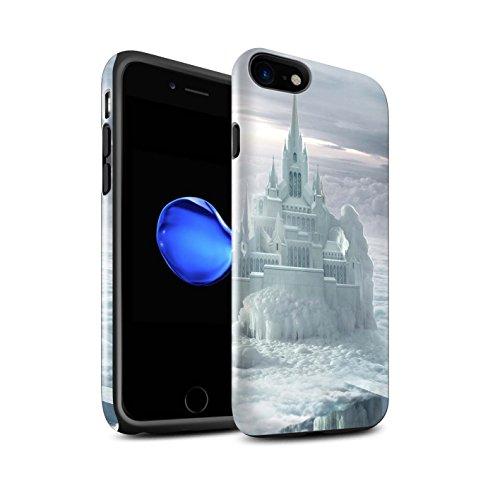 Officiel Elena Dudina Coque / Brillant Robuste Antichoc Etui pour Apple iPhone 8 / Nuit Bateau Voyage Design / Fantaisie Paysage Collection Château/Nuages