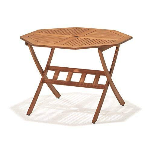 Leisure Zone Folding Rustic Octagonal Table & Chairs Wooden Dining Set-4 Seater Outdoor Indoor Garden Patio Conservatory Furniture 5 piece Set-100 x 100 CM Solid Acacia Wood, 2 Year Warranty