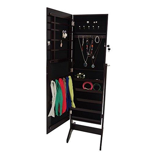 Todeco-Mueble-para-Joyas-con-Espejo-Organizador-con-Espejo-Material-MDF-Tamao-del-espejo-1086-x-255-x-3-mm-120-x-38-x-9-cm-Marrn-Soporte-de-suelo