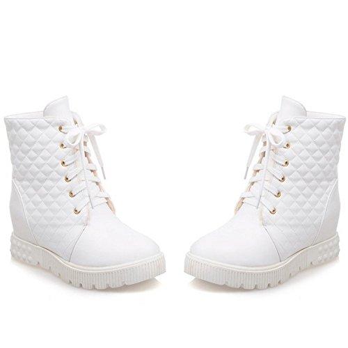 COOLCEPT Damen einfach elegant College-Stil flache Schuhe bequem runde Zehe Schnürung Knöchel Stiefel Weiß