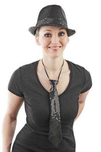 Foxxeo Schwarze Pailletten Krawatte für Damen und Herren zu Fasching Karneval Motto Party Paillettenkrawatte