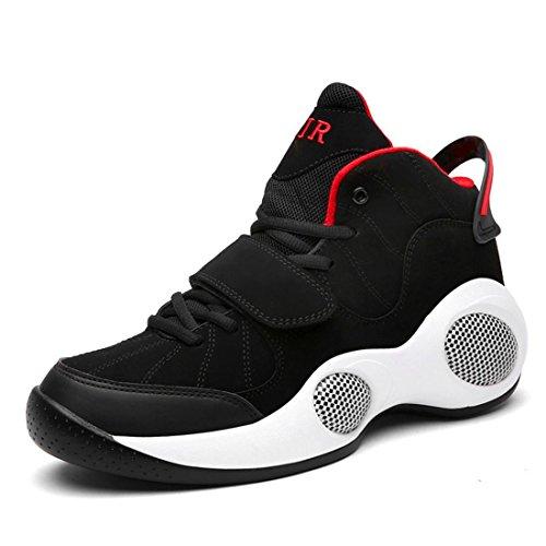 Hommes Chaussure de basket-ball Respirant Chaussures de sport Antidérapant Formateurs Baskets Augmenter les chaussures Grande taille EUR TAILLE 39-48 , black and red , 48