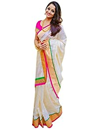3e5610309 Pramukh Suppliers Women s Chanderi Cotton Saree With Blouse Piece (Zari Pink  Saree Off White)