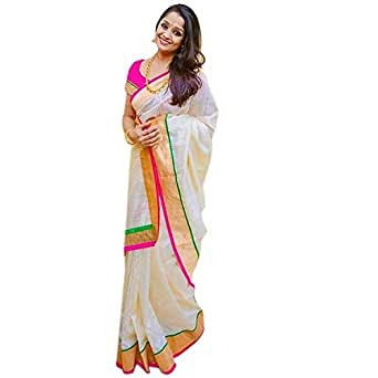 Pramukh Suppliers Women's Chanderi Cotton Saree With Blouse Piece (Zari Pink Saree_Off White)