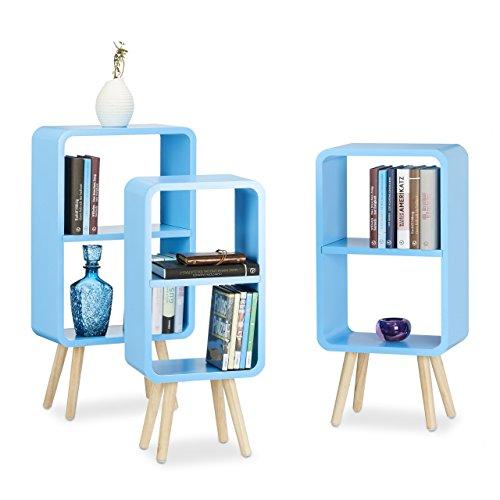Relaxdays Standregal 3er Set, Wohnzimmerregale zur Aufbewahrung mit je 2 Fächern, MDF Holzregal in...