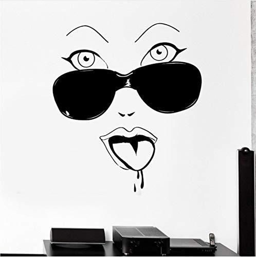 Preisvergleich Produktbild Whwd 56X72 Cm Frech Mädchen Gesicht Wandaufkleber Mode Wandkunst Für Wohnkultur Wohnzimmer Dekoration
