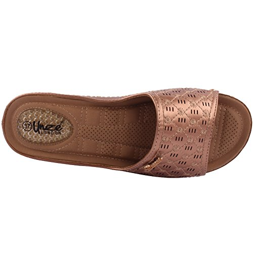 Unze Damen Damen Shuana Komfortable Open Toe Slip auf Low Heeled Casual Slipper Schuhe Größe 3-8 - 082-1 Unze 4NN3pVYPX