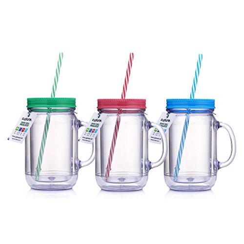 cupture® doppelwandig Isolierte Kunststoff Mason Jar Becher Tasse mit gestreift Trinkhalme-20oz, 3Stück - Mason Fruit Jars