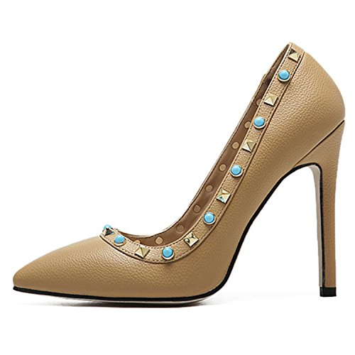 Oasap Women's Pointed Toe High Heels Slip-on Rivet Pumps apricot