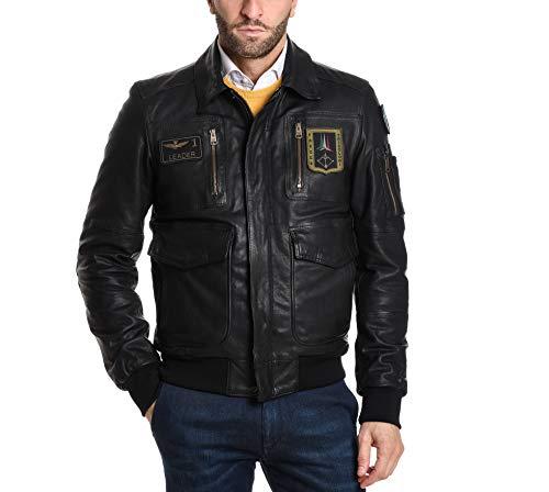 Aeronautica militare giacca outerwear uomo pn846183900001 pelle nero
