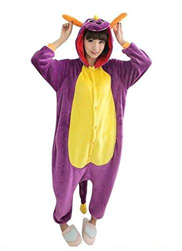 Hot unisex costume carnevale Halloween festa party Pigiama animali kigurumi cosplay Zoo onesies tuta (Small, Drago Viola)