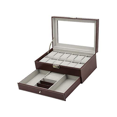 HKHJ Doppelschicht Aufbewahrungsbox Obere Schicht ist Uhrengehäuse für 20 Uhren Untere Schicht ist Schmucketui für Ringe Armband Halskette Abschließbare Schmuckschatulle Uhrenbox aus Leder,Brown