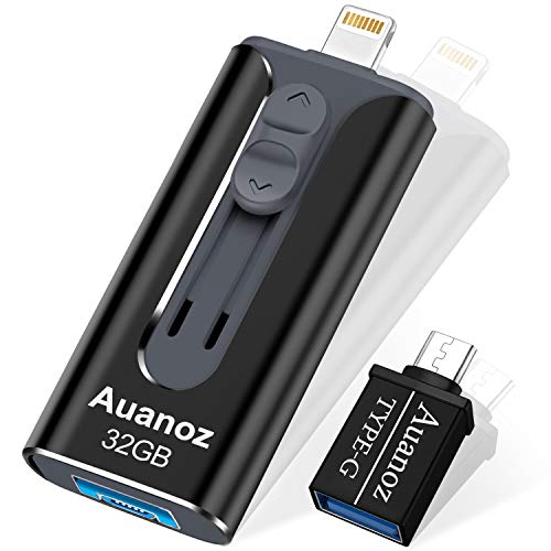 iPhone-Flash-Laufwerk 32GB, Auanoz iPhone-Memory-Stick mit 4 Anschlüssen, USB 3.0-Flash-Laufwerk Kompatibel mit iPhone/iPad/Android/PC/iPhone-Photo-Stick mit OTG-Adapter. (Black-32GB)